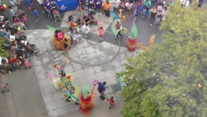 A colorful dance ensemble from our hotel window