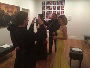 Anne-Sophie Mutter and a few of her Virtuosi backstage at Carnegie Hall on 11/18/2014.  Photo taken from artist's Facebook page,
